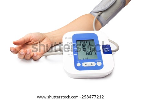 woman arm on blood-pressure meter isolated on white background.