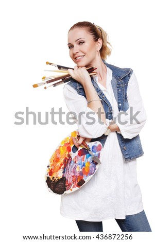 Woman artist isolated at white. Blonde middle aged woman with brushes and palette, painter. Artistic hobby, creative, craft for adults. Fine art, art classes, education concept. professional artist. - stock photo