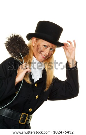 woman as a chimney sweep. good luck on new year's eve and new year. - stock photo