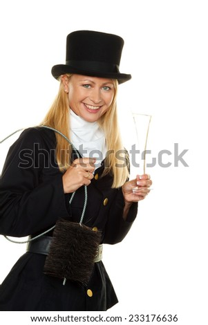 woman as a chimney sweep. lucky charm new year's eve and new year. - stock photo