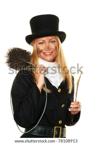 Woman as a chimney sweep. Lucky New Year's Eve and New Year. - stock photo