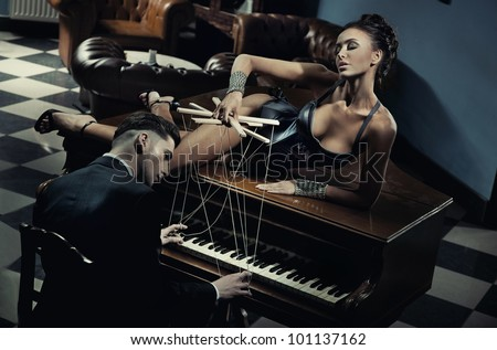 Woman as a leader in relationship - stock photo