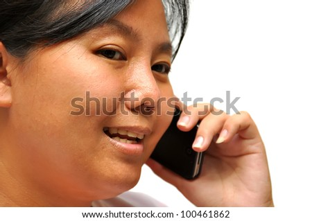 Woman Asia on Phone on white background