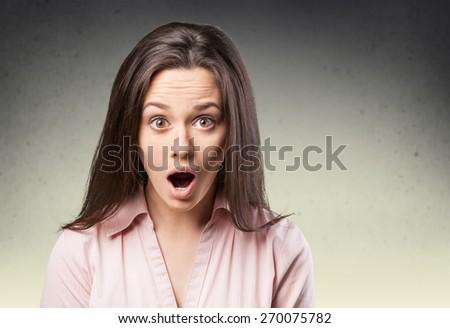 Woman. Astonished woman - stock photo