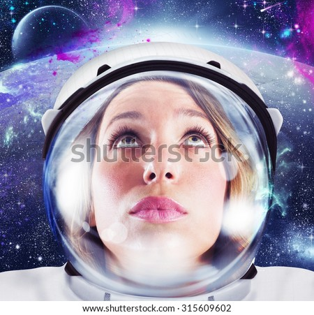 Woman astronaut looks space and infinity cosmos