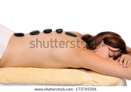 Woman at a Lastone Therapy