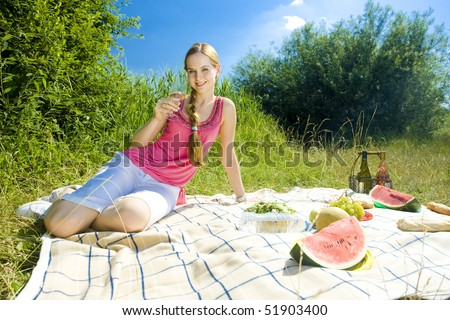 woman at a picnic - stock photo