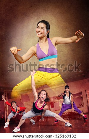 woman at fitness or sport dancing - stock photo