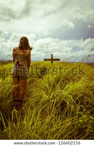 woman at grief - stock photo