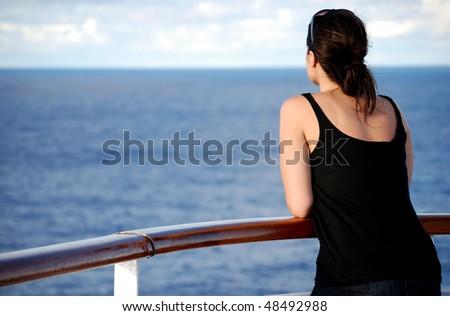 Woman at sea - stock photo