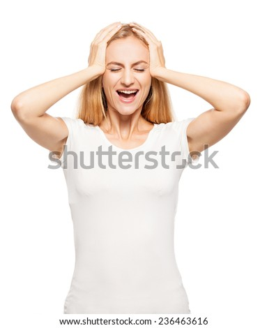Woman at white background. Young happiness female isolated  - stock photo