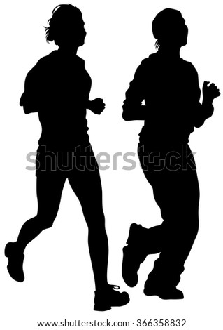 Woman athletes on running race on white background - stock photo