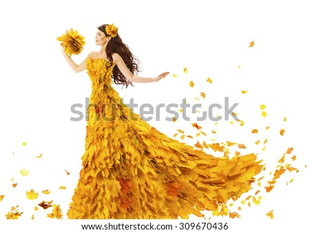 Woman Autumn Fashion Dress of Fall Leaves, Model Girl in Yellow Wedding Bride Gown on White, Creative Beauty - stock photo
