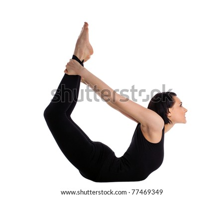 woman back bends yoga - bow pose isolated - stock photo