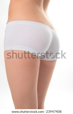 woman back in white panties on white background