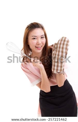 woman baker wearing mitten glove for baking concept studio shot - stock photo