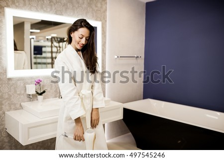 woman bathroom hair fun. Woman In Bathroom Stock Images  Royalty Free Images   Vectors