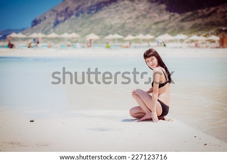 woman beach sea travel