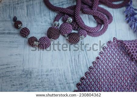 Woman beautiful decoration of beads bright color, Fashion jewelry - stock photo