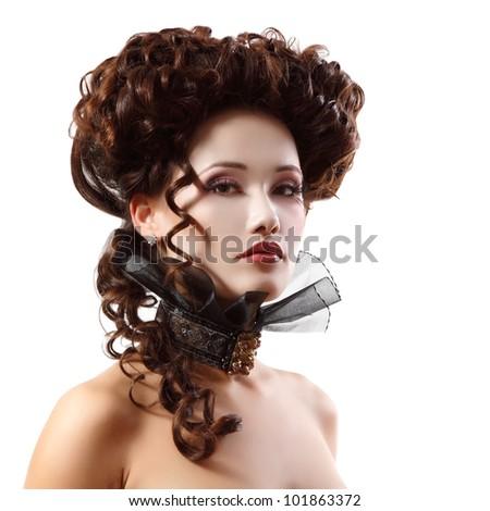woman beautiful halloween vampire baroque aristocrat isolated on white background - stock photo
