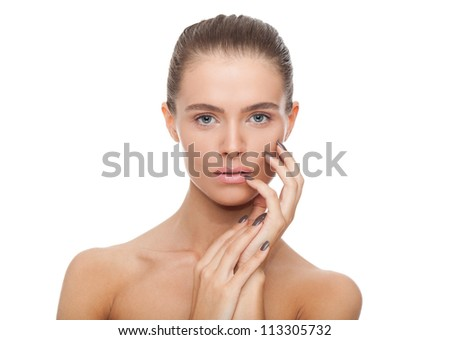 woman beauty face closeup portrait. Beautiful attractive Caucasian female model, young girl with natural perfect health skin isolated on white background - stock photo