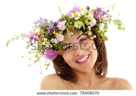 woman beauty face makeup with summer field wild flowers fresh natural isolated on white background - stock photo