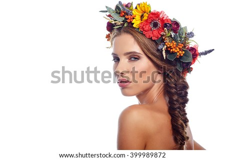 woman beauty face makeup with summer field wild flowers  isolated on white background