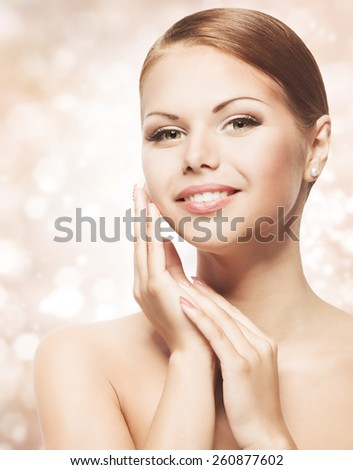 Woman Beauty Face with Natural Makeup, Clean Fresh Skin Care, Beautiful Young Girl Portrait, Skincare Concept - stock photo