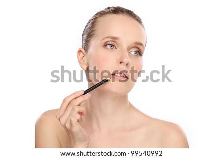 woman beauty lips pencil make up - stock photo
