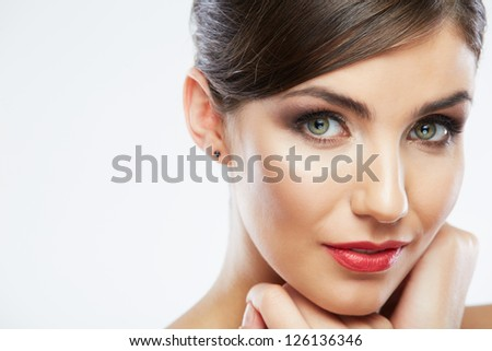 Woman beauty portrait. isolated on white. close up female face. - stock photo