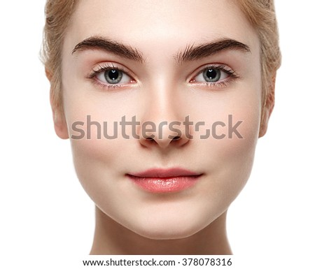 Woman beauty portrait isolated on white skin care concept closeup - stock photo