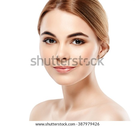 Woman Beauty portrait of attractive female. Skin care, cosmetics and makeup concept.Isolated on white. Healthy perfect skin.