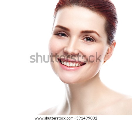 Woman Beauty portrait of attractive female smile healthy teeth. Skin care, cosmetics and makeup concept.Isolated on white. Healthy perfect skin. - stock photo