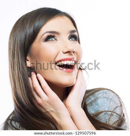 Woman beauty portrait. Smile close up female face. Long hair  beauty model . - stock photo