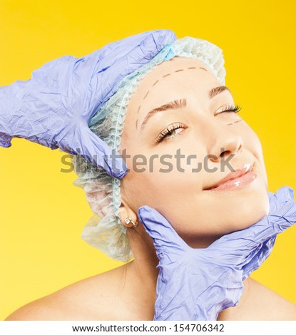woman before the operation - stock photo