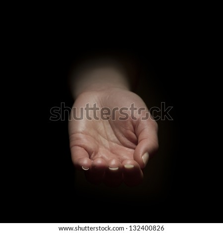 Woman begging with outstretched hands. Hands reaching out . - stock photo