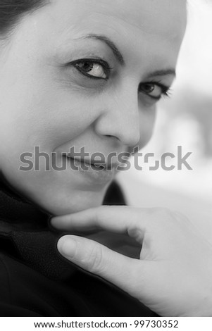 woman black and white - stock photo