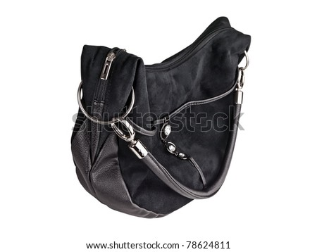 Woman black handbag against the white background