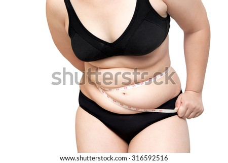 Woman body fat overweight squeeze tighten by measure tape or line tape wearing black underwear bra isolated on white - stock photo