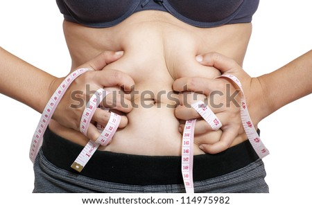 woman body with measuring tape isolated in white - stock photo