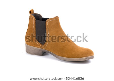 woman Boots brown leather on white background, isolated product, top view