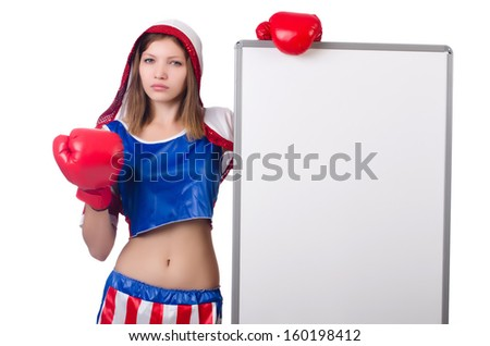 Woman boxer in uniform with US symbols - stock photo