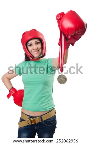 Woman boxer isolated on the white background - stock photo