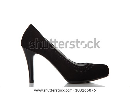 woman brand new shoe on white background - stock photo