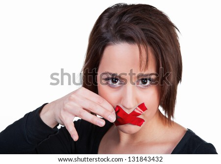 Woman breaks the silence - stock photo