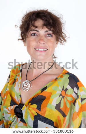 Woman, brunette with curly hair wearing a vintage clothe - stock photo