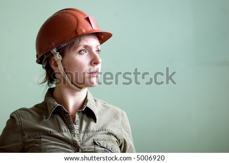 Woman builder - stock photo