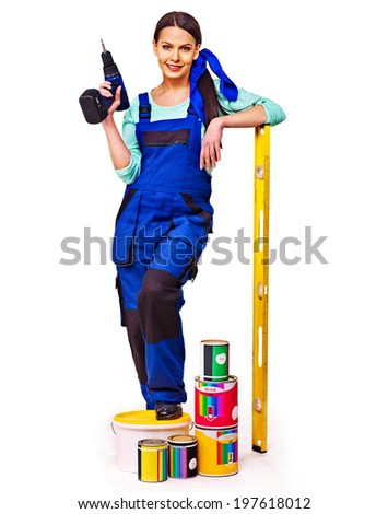 Woman builder  with construction tools. Isolated. - stock photo