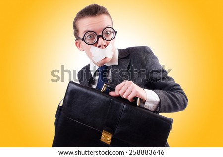 Woman businesswoman in censorship concept - stock photo