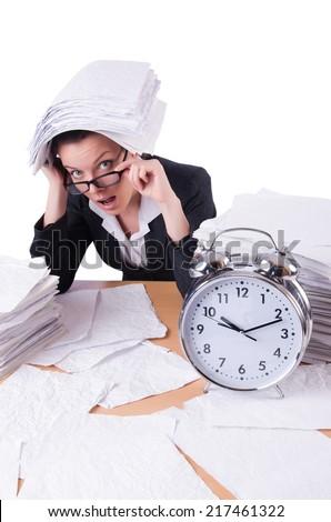 Woman businesswoman under stress missing her deadlines - stock photo